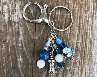 Keychains for Women, Lighthouse Keychain, Bag Charm, Lighthouse Gift, Purse Charm Beaded, Purse Charm for Handbags, Lighthouse, Gift for Her