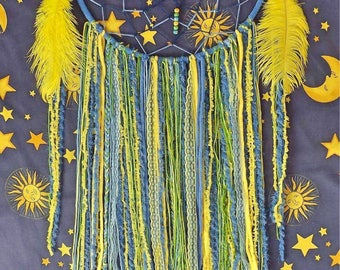 Large Blue/Yellow Dreamcatcher with Feathers