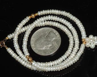 """Vintage Estate18k Yellow Gold Clasp & Beads 3.5mm Sead Pearl 4mm Pearl Cluster Necklace 8.59 Grams 17"""""""