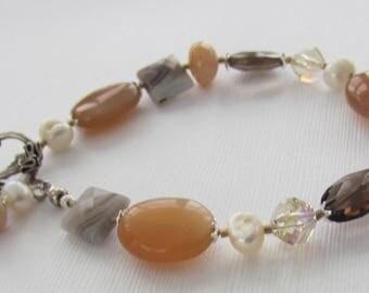 Peach Moonstone Botswana Agate Pink Peruvian Opal Freshwater Pearls Smoky Quartz Swarovski Crystal Bracelet
