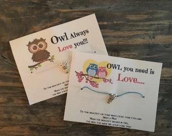 Owl wish bracelet.Owl charm bracelet.owl always love you.Owl you need is love.Friendship bracelet.Wish bracelet.all you need is love