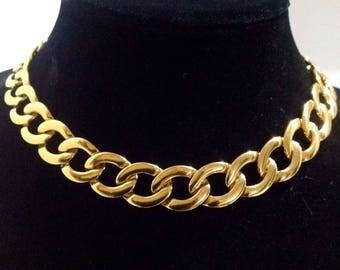 Vintage Napier Gold Fashion Necklace Pat. 4774743 1980's