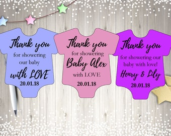 Printable Personalized Baby Shower Thank You Tags, Instant Download, Digital