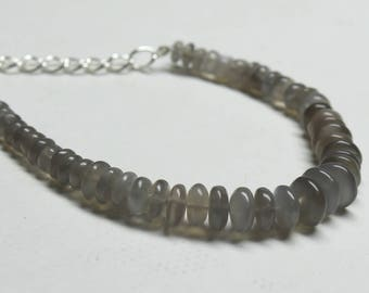 "Natural Gray Moonstone Round Beads Strand Bracelet . 5.5"" Inches Strand, Size- 5 to 10 MM Approx Code-HN45"