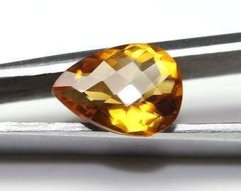 AAA+ Amazing Natural Citrine Faceted Pear Checker Cut with Nice cutting 8.5X11.3X5 MM Citrine Oval CODE CT09