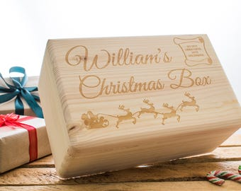 Wooden Christmas Eve Box - Personalised wooden box - 2 sizes available