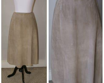 Vintage 1970s Suede British London Long Skirt