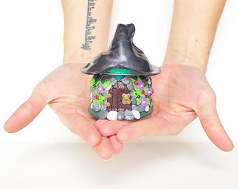 Witches Cottage Polymer Clay Fairy House Jar