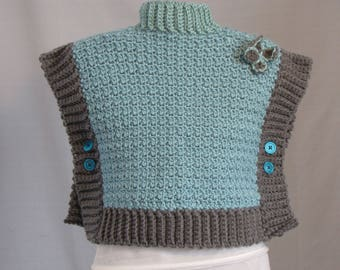 Child's Button Up Poncho - Crochet