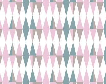 """ARGYLE"" Harlequin pastel pink green taupe cotton fabric"