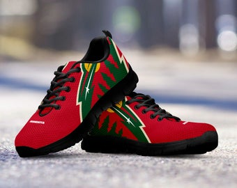 Minnesota Wild Custom Running Black Shoes/Sneakers/Trainers - Ladies + Mens Sizes fan, collector, gift