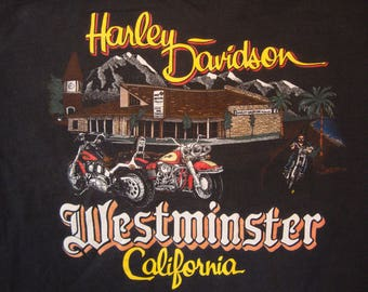 Vintage 90's Harley-Davidson Motorcycles Westminster California Souvenir Black T Shirt Size XL