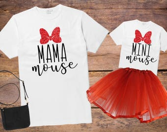 Mama Mouse and Mini Mouse shirt set, Mommy & Me shirt set, Mom and child shirt set