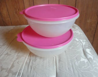 Lot of 2- tupperware wonderlier bowls with seals- clear - rose- 12 cup and 8 3/4 cup. Very, very gently used. Numbers 2518, 2515,2519,&2516