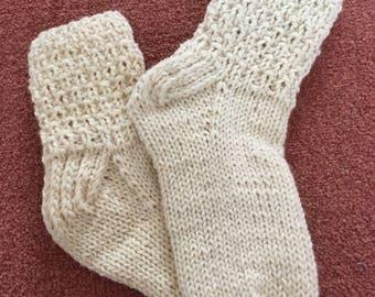 Knitted socks, white socks, winter socks