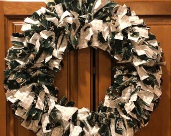 "18"" Ohio University Bobcats fabric wreath"