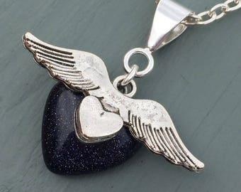 BEAUTIFUL Blue Goldstone Heart & Open Wings Pendant
