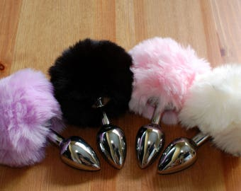 Tail Butt Plug  / Bunny / Rabbit / BDSM / MATURE / Small Plug / Beginner Plug / White / Black / Pink / Purple / FREE Shipping (fast ship)!