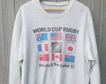 Vintage 80s World Cup Rugby Australia & New Zealand 87 Sweatshirt Pullover