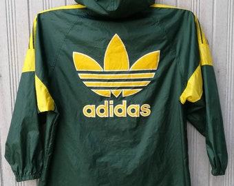 Vintage Adidas Trefoil Windbreaker Hoodie Jacket Big Logo Spellout