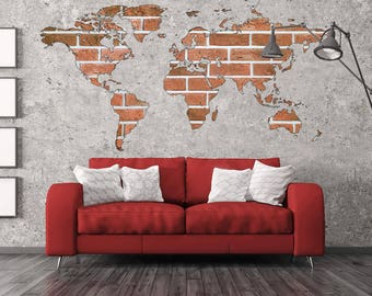 High Quality Brick Wall Art World Map Decal World Map Print World Map Wall Art World Map  Decal Part 25