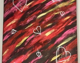 """18"""" x 24"""" Acrylic Painting - Ragepainting #3: Loves Me Not"""