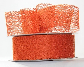 "Orange Mesh Ribbon- 1.5"" x 20 yds"
