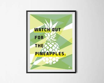 Printable quote /social club/ Pineapple geometric, typographic poster, INSTANT DOWNLOAD ready for print