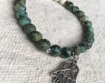 "African Turquoise Essential Oil Bracelet ""Simone"""