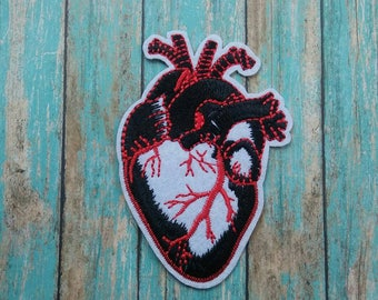 Anatomical Heart Iron On Patch/Applique/Embroidered Patch/Clothing Patch/Backpack Patch/Jacket Patch/Human Anatomy