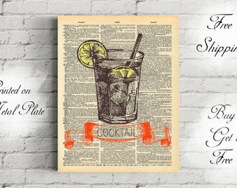 gin and tonic poster etsy. Black Bedroom Furniture Sets. Home Design Ideas