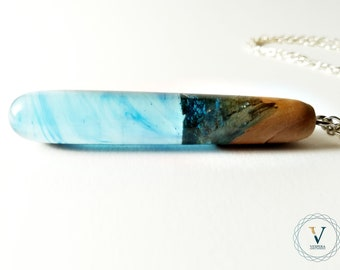 Olive and resin wood necklace-Streamlining-