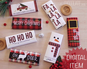 Plaid Bundle Christmas Candy Bar Wrappers - Instant Download - PLAID BUNDLE - Red Plaid - Christmas gift - Stocking Stuffer