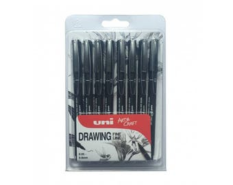 PIN Uni Fine Line Drawing Pens - 8 piece pack containing: 0.05/0.1/0.2/0.2/0.3/0.4/0.5/0.8mm