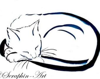Sleeping White Cat Original Watercolor Painting