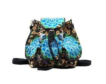 Mochila Bordada Turqueza/ Backpack with Embroidery