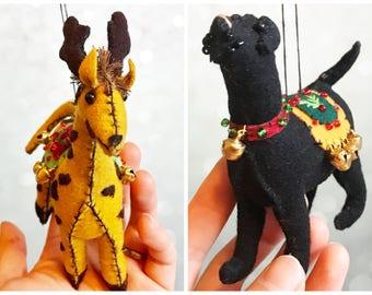 hand stitched 3d Christmas dog giraffine Handcrafted felt Christmas tree decoration / felt hanging ornament chic felt / primitive decoration