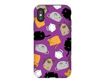 Cat Phone Case, Cat Lover Gift, Cute iPhone Case Purple iPhone 6 7 8 X Case, Samsung Galaxy S8 Plus, Kawaii Kitten, Animal Case, Cat Lady