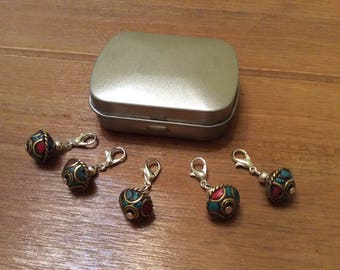 Set of 5 stitch markers with tin, Nepalese beads, crochet, knitting, clip charm, ideal Christmas gift.