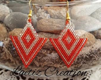 Ruby and ivory diamonds earrings