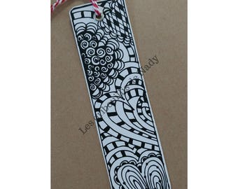 Bookmark ready for coloring - bookmark - heart - reading - mandala - zentangle