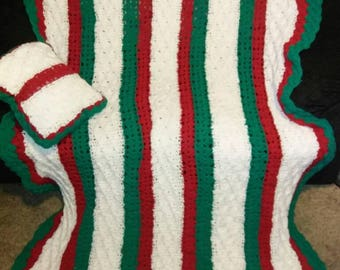 Christmas colored crocheted blanket afghan throw with pillow