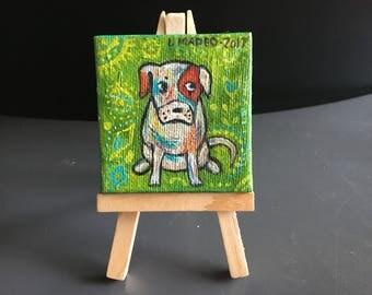 Original painting miniature dog