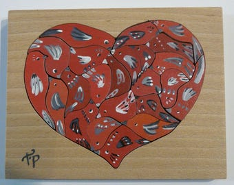 heart red birds 23 pieces