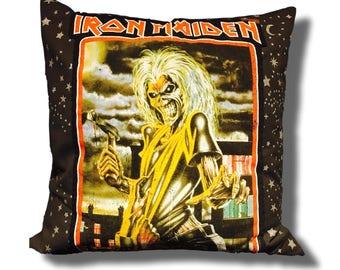 Glam Rock Couture Throw Pillow - Iron Maiden