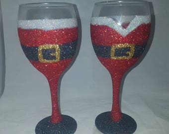 Santa glitter glass, Mrs Clause, pair of Christmas glitter glasses, Christmas couple gifts, holiday glass, Christmas ideas