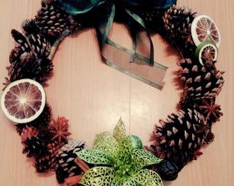 Handmade Christmas Pinecone Wreath