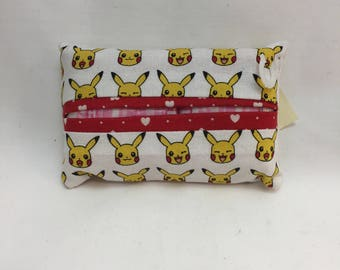 Tissue packet cover - white pokemon with pikachu