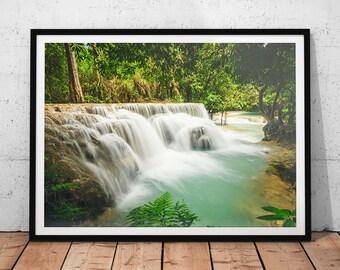 Kuang Si Falls // Laos Nature Photo, Asia Waterfall, Asian Fine Art Print, Landscape Prints, Southeast Asia Wall Art, Photography of Asia