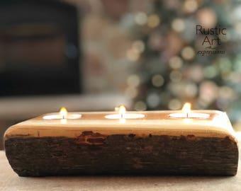 Reclaimed Maple | Rustic 3 Tealight Candleholder | Bark Down | Rustic Centerpiece